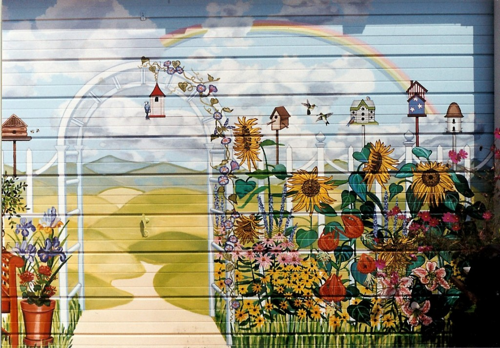 Country Garden Garage Door Mural For Backyard Of Home In