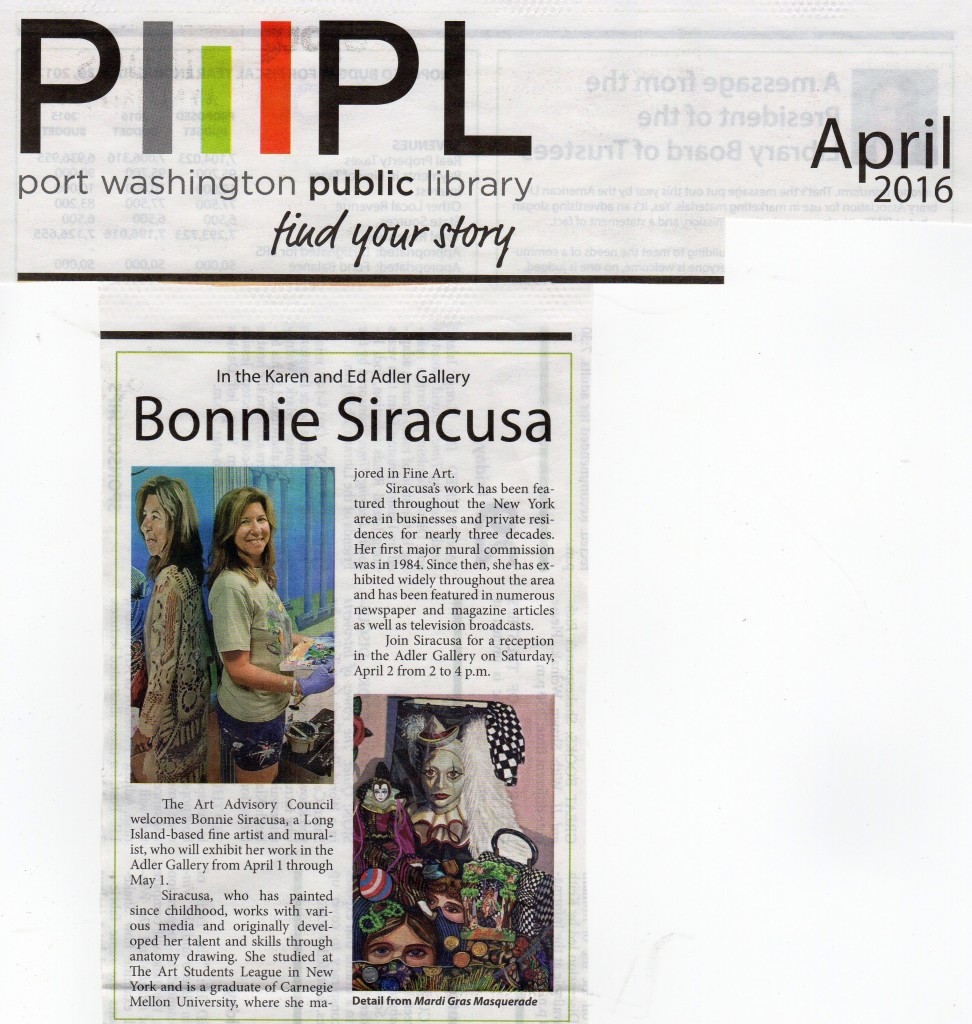 Port Washington Library Art Exhibition announcement in newsletter